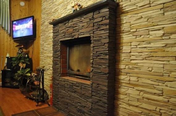 Облицовка камина внутри дома на клей Церезит см 16.