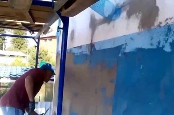 Армирование стен дома на клей для утеплителя фасадный Церезит.