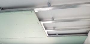 Монтаж гипсокартона на потолки с каркасом.